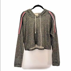 Free Kisses crop gray striped hooded sweatshirt